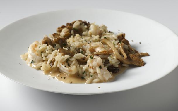 Ριζότο μανιταριών με γαρίδες