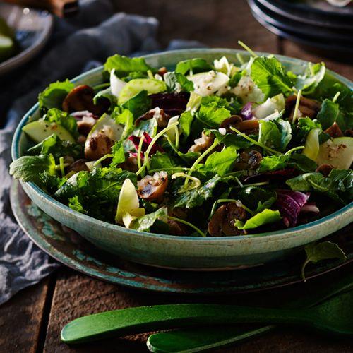 Πράσινη σαλάτα με ψητά μανιτάρια